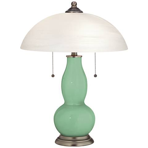 Hemlock Gourd-Shaped Table Lamp with Alabaster Shade
