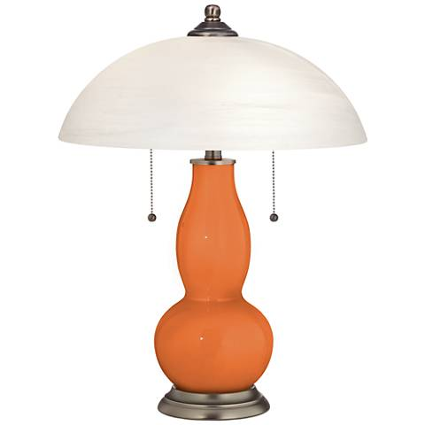 Celosia Orange Gourd-Shaped Table Lamp with Alabaster Shade