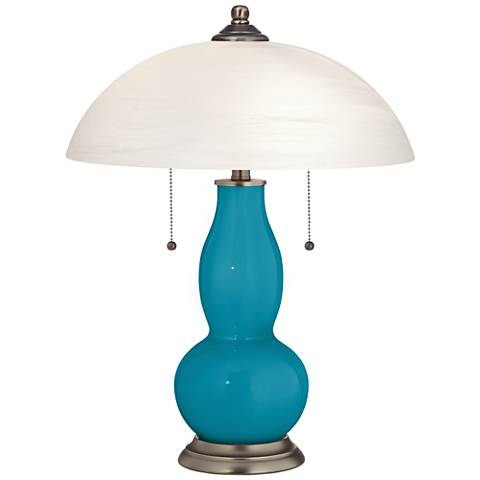 Caribbean Sea Gourd-Shaped Table Lamp with Alabaster Shade