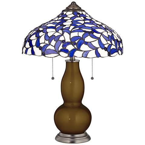 Bronze Metallic Gourd Table Lamp with Iris Blue Shade