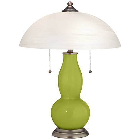 Parakeet Gourd-Shaped Table Lamp with Alabaster Shade
