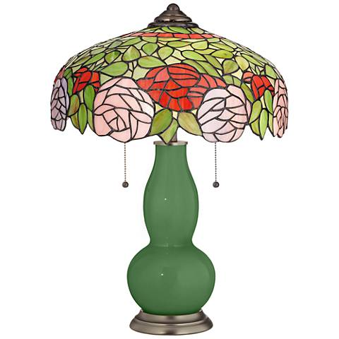Garden Grove Gourd Table Lamp with Rose Bloom Shade