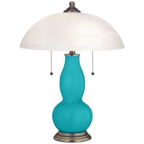 Surfer Blue Gourd-Shaped Table Lamp with Alabaster Shade
