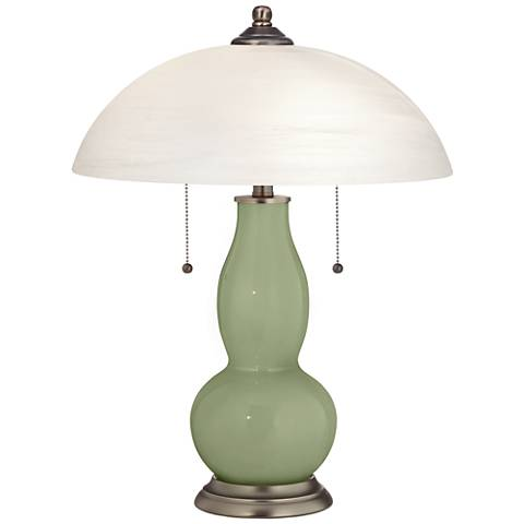 Majolica Green Gourd-Shaped Table Lamp with Alabaster Shade