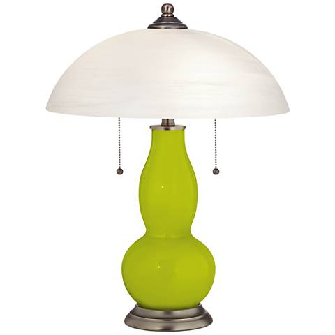 Pastel Green Gourd-Shaped Table Lamp with Alabaster Shade