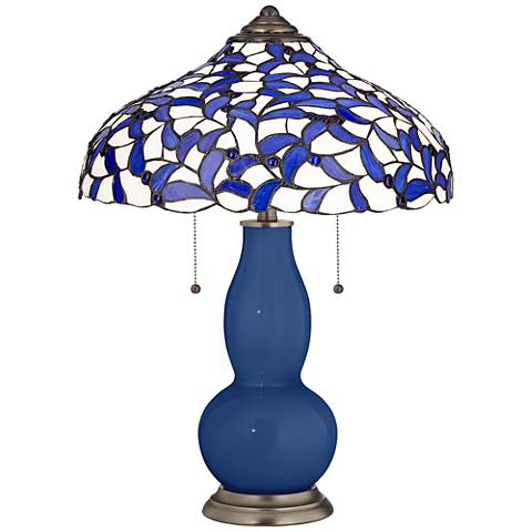 Monaco Blue Gourd Table Lamp with Iris Blue Shade