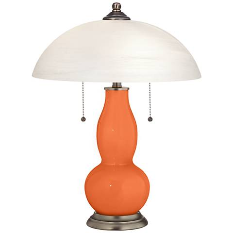Nectarine Gourd-Shaped Table Lamp with Alabaster Shade