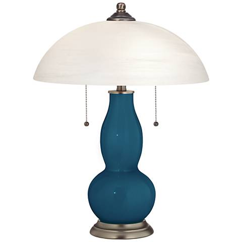 Oceanside Gourd-Shaped Table Lamp with Alabaster Shade
