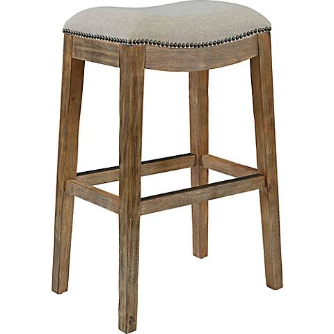 "Gaby Natural Wood 30 1/2"" Cream Fabric Backless Barstool"