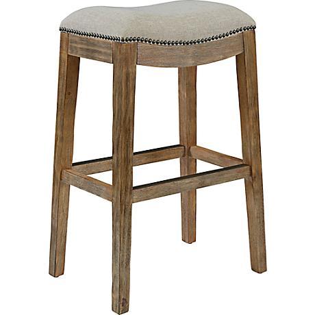 "Gaby Natural Wood 30 1/2"" Cream Fabric Backless Barstool"