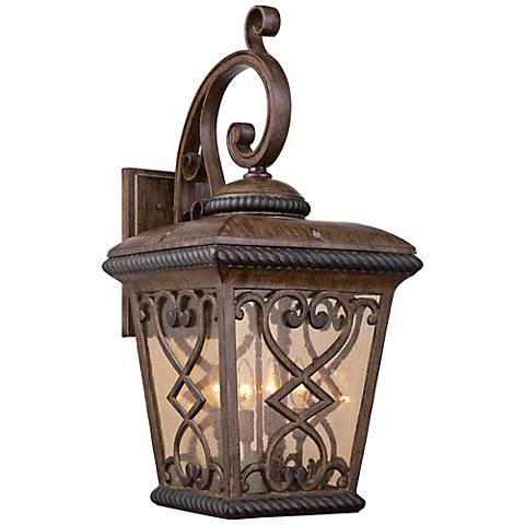 "Quoizel Fort Quinn 30""H Antique Brown Outdoor Wall Light"