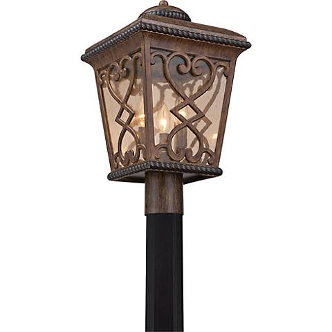 "Quoizel Fort Quinn 19""H Antique Brown Outdoor Post Light"