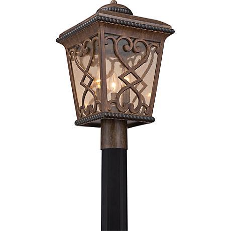 "Quoizel Fort Quinn 19""H Antique Brown Outdoor Post Light"