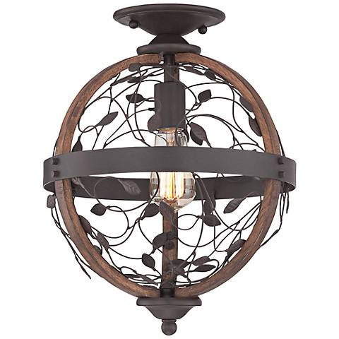 "Quoizel Chamber 12"" Wide Darkest Bronze Ceiling Light"
