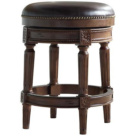 "Xander 24"" Mocha Top Grain Leather Backless Counter Stool"