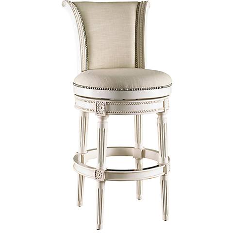 "Chloe 30"" Cream Fabric Scroll Back Barstool"