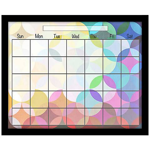 colorful circles 22 wide black framed wall calendar