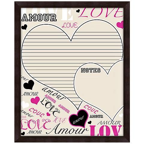 "Love 22"" High Brown Framed Organizational Memo Board"