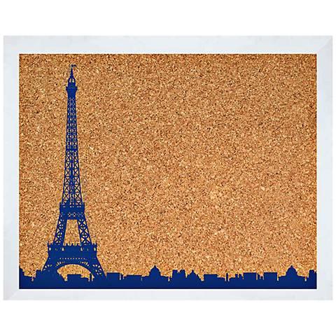 """Eiffel Tower 22"""" Wide White Framed Wall Cork Board"""