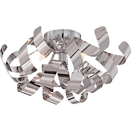 """Quoizel Ribbons 16 1/2"""" Wide Polished Chrome Ceiling Light"""