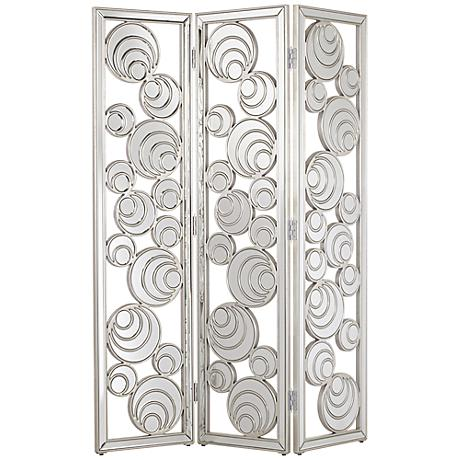 Lina Silver Leaf Mirrored 3-Piece Room Divider Screen