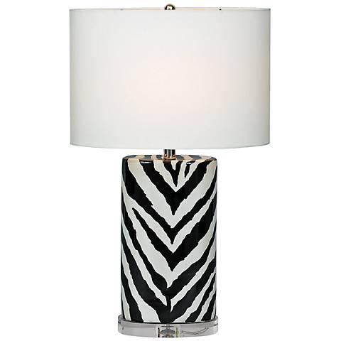Port 68 Kenya Black Oval Zebra Porcelain Table Lamp
