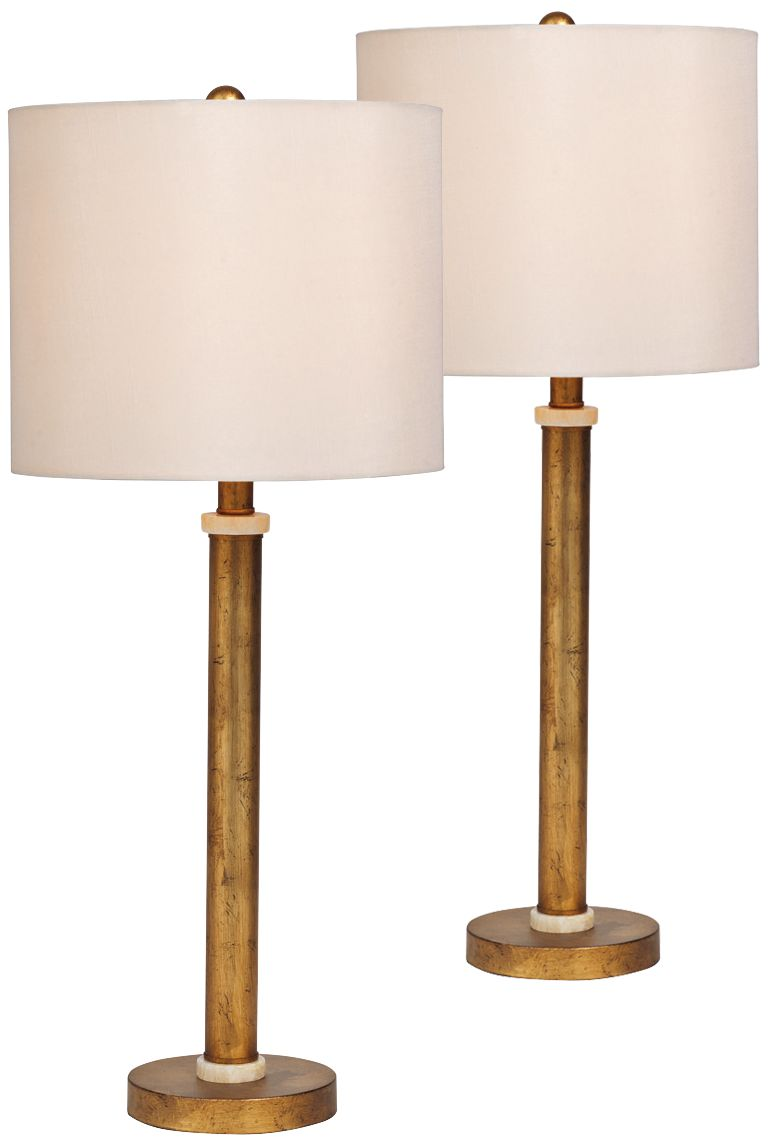 Port 68 Diana Gold Marble Buffet Table Lamp Set Of 2