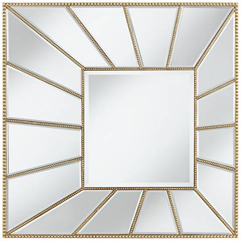 "Cordele Golden Beaded 29 1/2"" Wide Sunburst Wall Mirror"