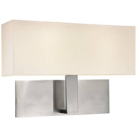 "Sonneman Mitra 16"" Wide Satin Nickel LED Wall Sconce"