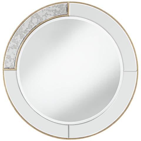 "Montesa Dark Champagne 31 1/2"" Round Wall Mirror"