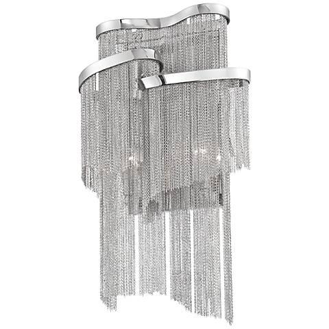 "Eurofase Cadena 18"" High Crystal Drape Nickel Wall Sconce"