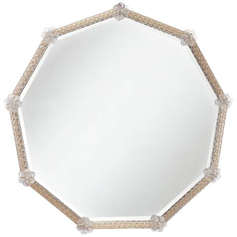 "Fernley Gold Floral 28""x 27 1/2"" Beveled Wall Mirror"