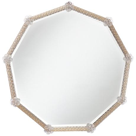 """Fernley Gold Floral 28""""x 27 1/2"""" Beveled Wall Mirror"""