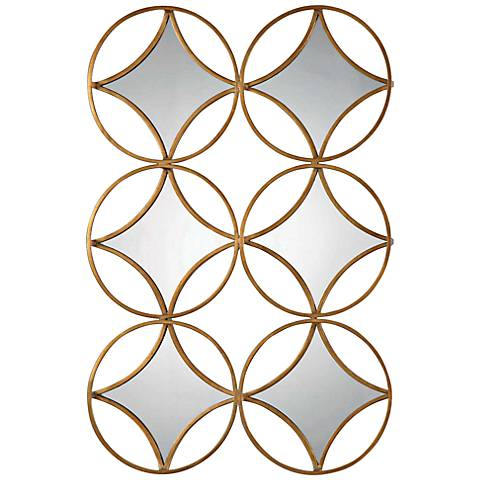 """Zamora Gold Leaf 21"""" x 44"""" Hand-Forged Framed Wall Mirror"""