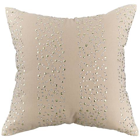 "Beige and Silver Sequin 18"" Square Throw Pillow"