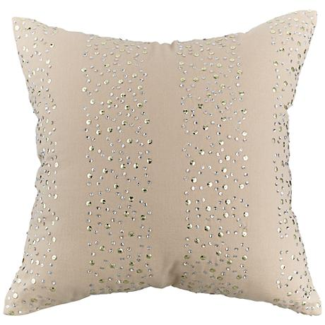 """Beige and Silver Sequin 18"""" Square Throw Pillow"""