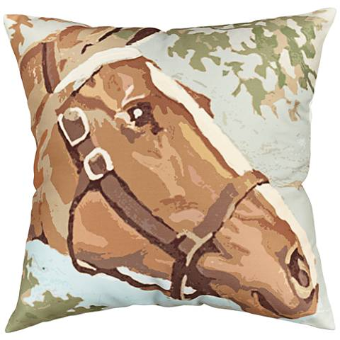 """Painted Horse 18"""" Square Throw Pillow"""
