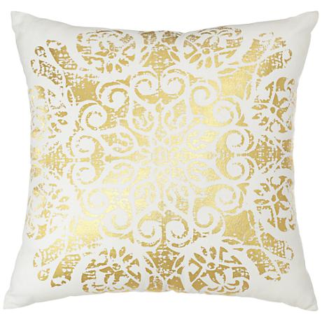 "Gold Foil Medallion 18"" Square Throw Pillow"