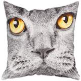 "Cat Print 18"" Square Canvas Pillow"