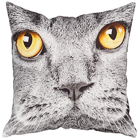"Cat Print 18"" Square Canvas Pillow"