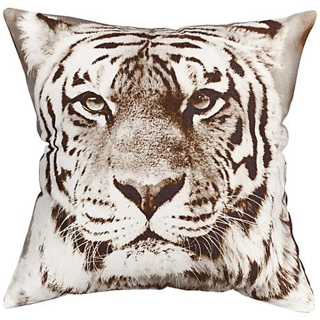 "Tiger Print 18"" Square Canvas Pillow"