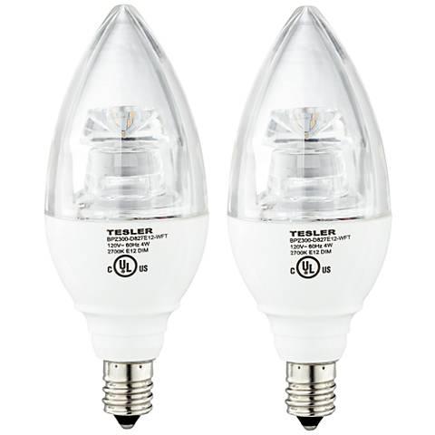 40W Equivalent Tesler 4W LED Dimmable Candelabra Bulb 2-Pack