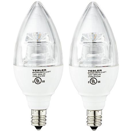 4 Watt LED Dimmable Candelabra Base Light Bulb 2-Pack