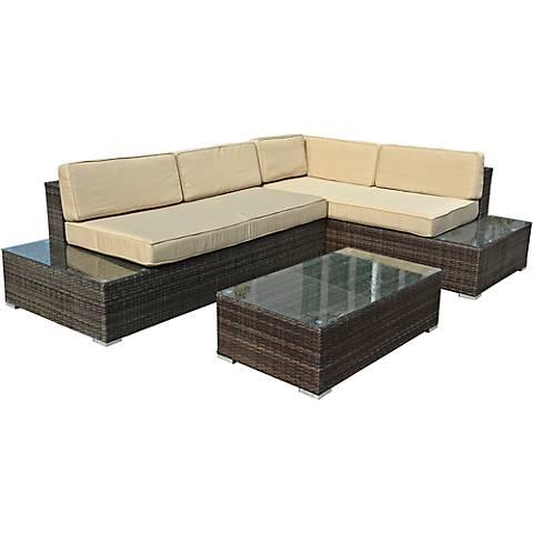 Sandestin Brown Wicker 3-Piece Outdoor Sectional Sofa Set