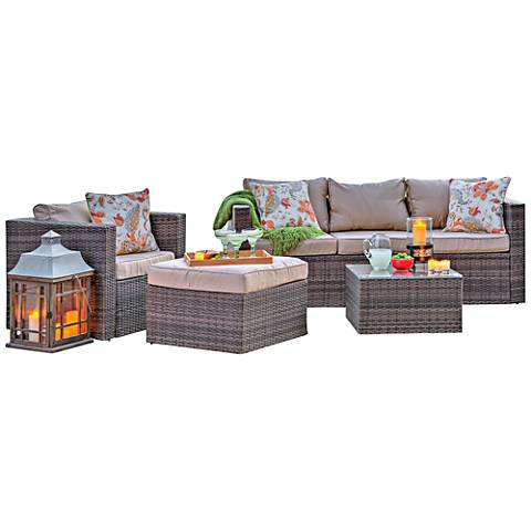 Caribe Brown Wicker 4-Piece Outdoor Patio Seating Set