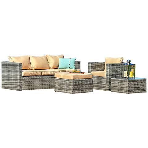 Caribe Gray Wicker 4-Piece Outdoor Patio Seating Set
