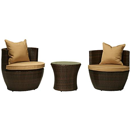 Perry Espresso Brown 3-Piece Wicker Outdoor Seating Set