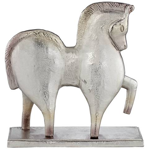 "Decorative Matte Silver 19"" High Horse Statue"