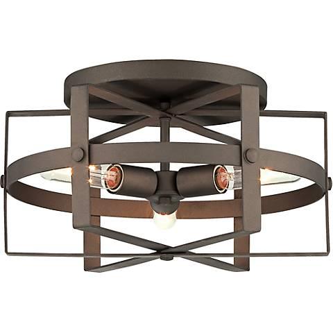 """Varaluz Reel 16 1/2""""W Rustic Bronze Steel Ceiling Light"""