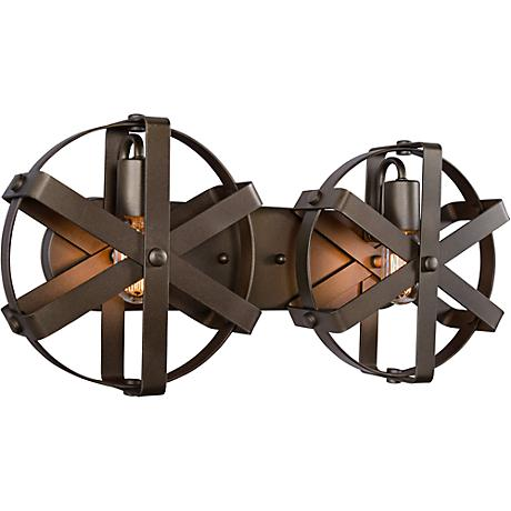 "Varaluz Reel 22""W Rustic Bronze Steel 2-Light Wall Sconce"